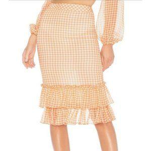 New LPA Gingham Orange White Ruffle Skirt Revolve